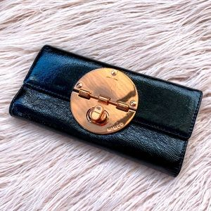 Mimco black rose gold turn lock leather wallet